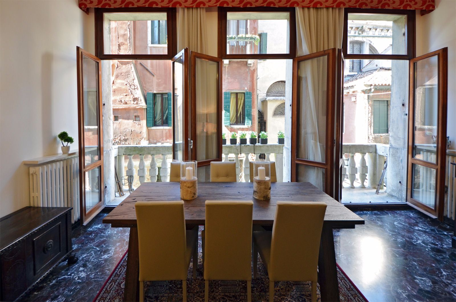 enjoy dining with open doors on the balcony