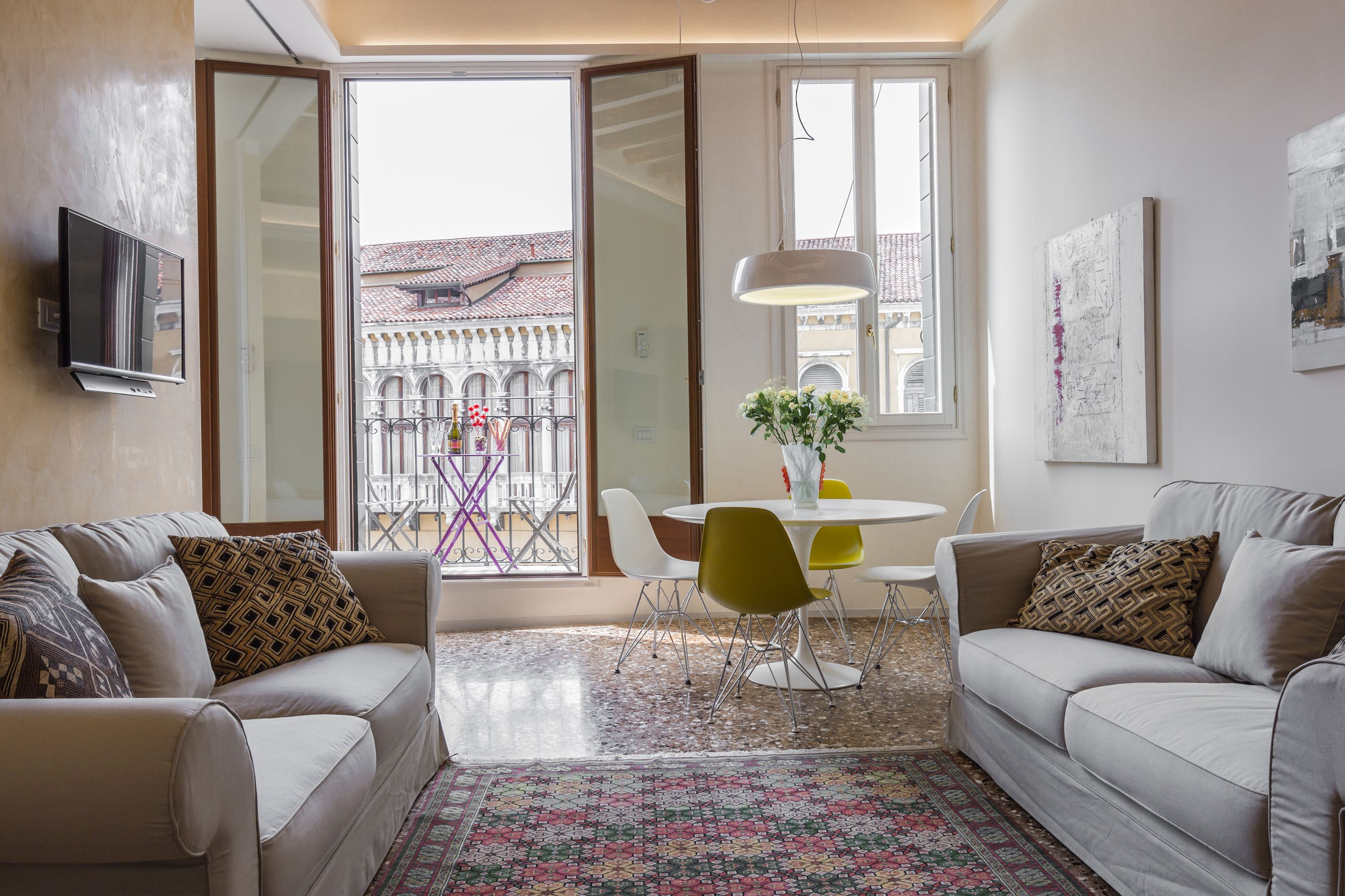 Manin apartment living room with balcony and panoramic view