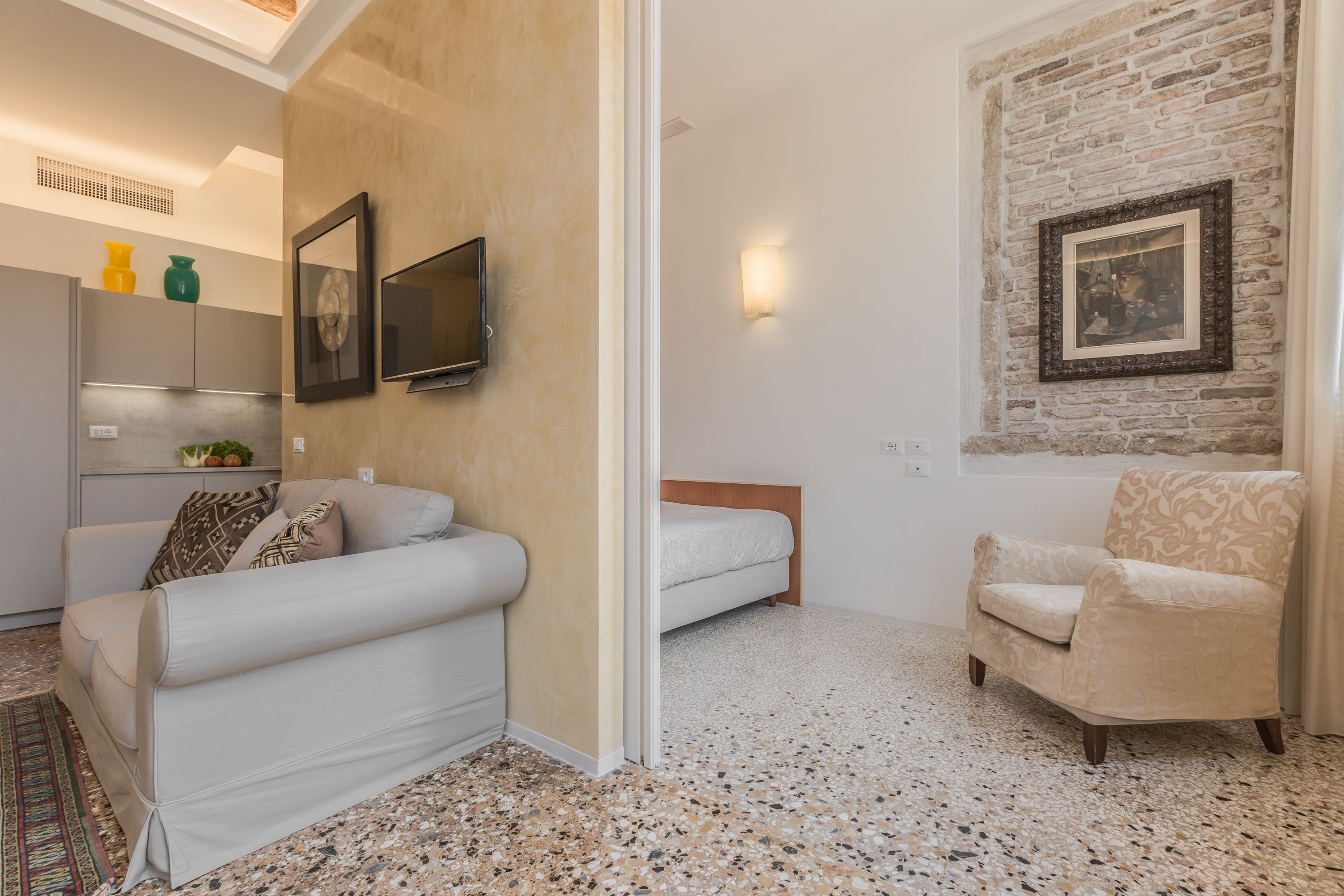 the second bedroom can be accessed through a sliding wall in the living room