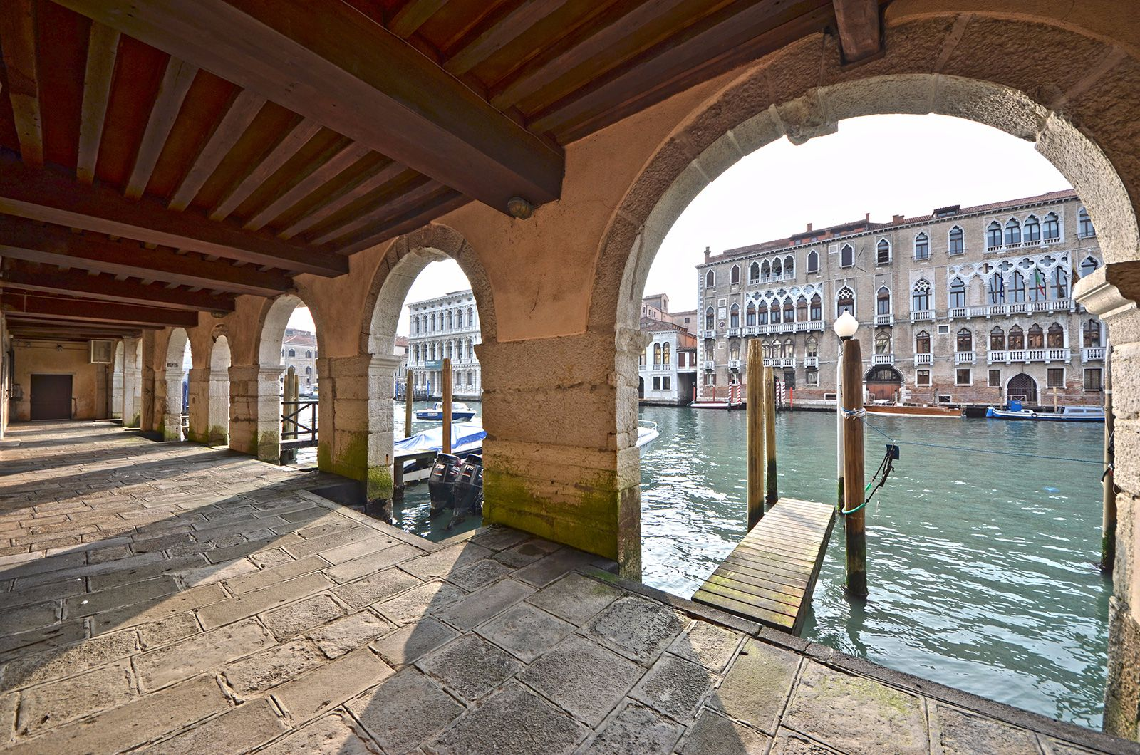 view from the porch of the Palazzo on the Grand Canal (the pier cannot be used!)