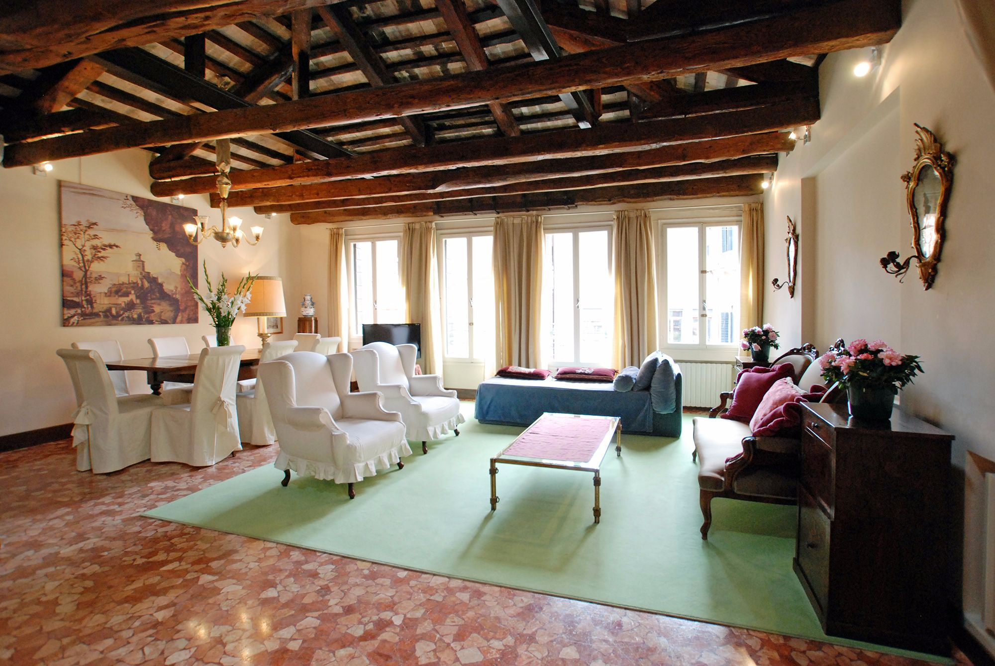 the grand living room of Mocenigo apartment in Venice