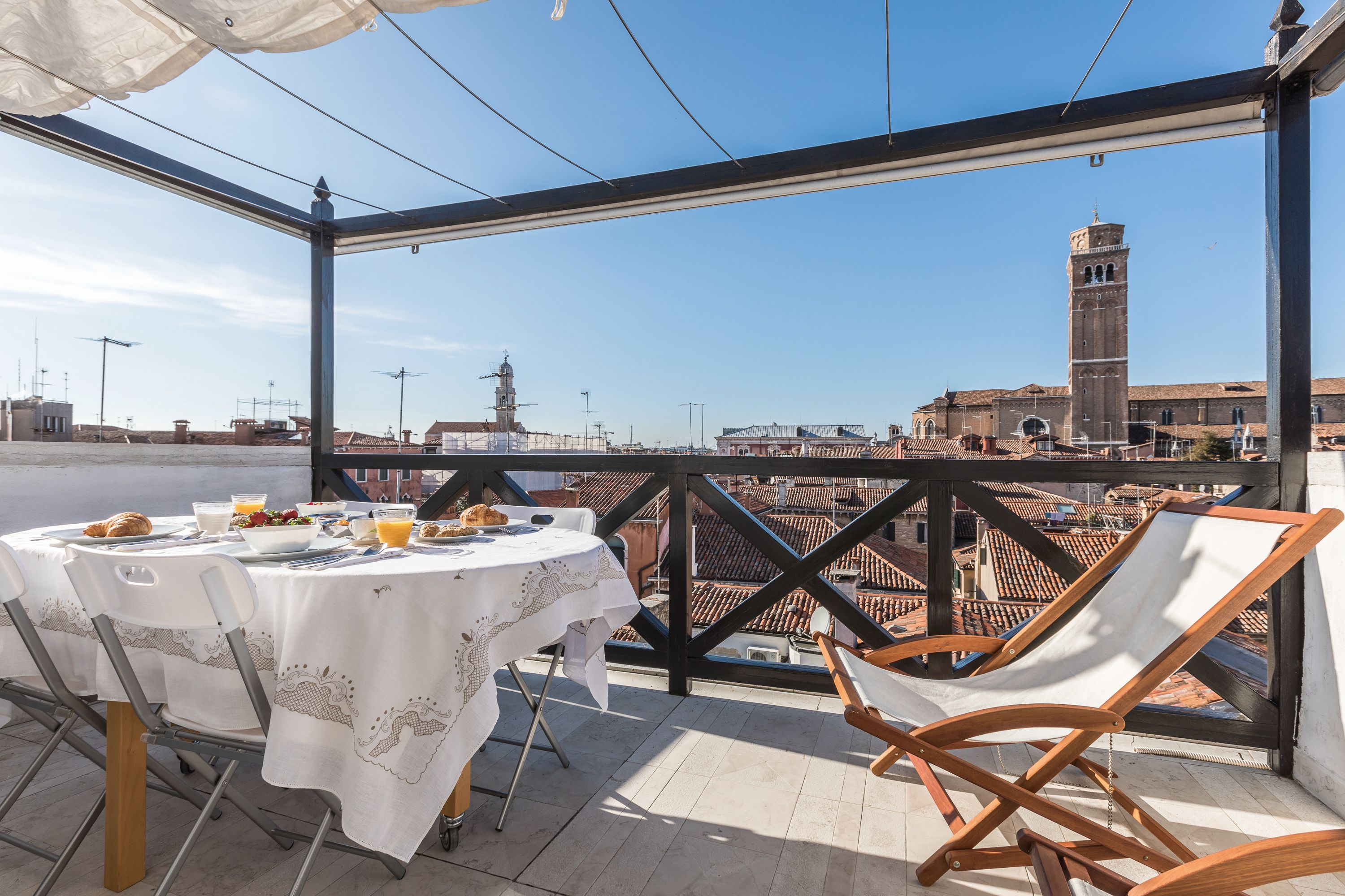 the terrace is spacious enough to be used as a sundeck or as a open-air dining room