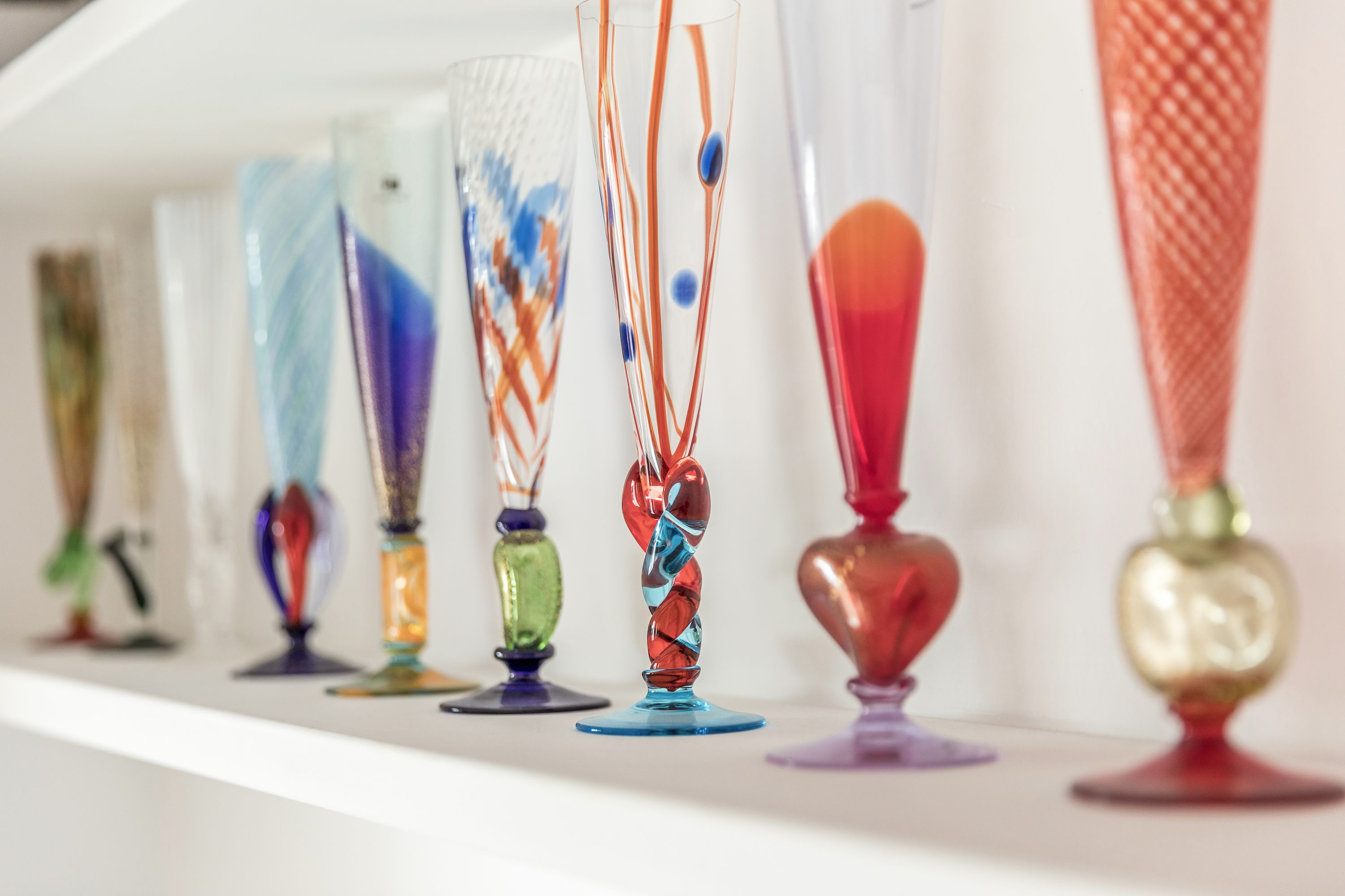 a detail of the stunning Murano Glasses collection