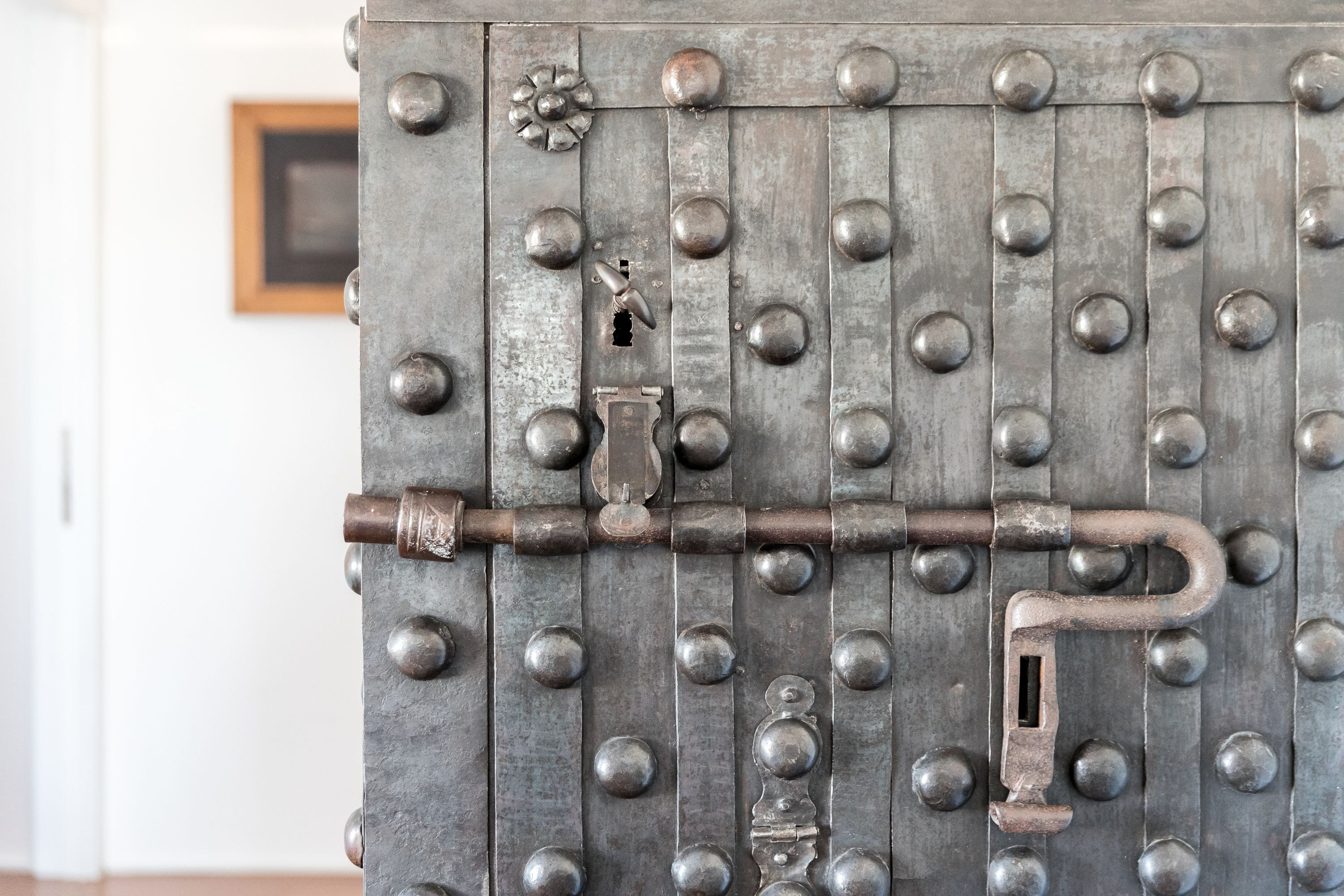 the antique safe is a real masterpiece
