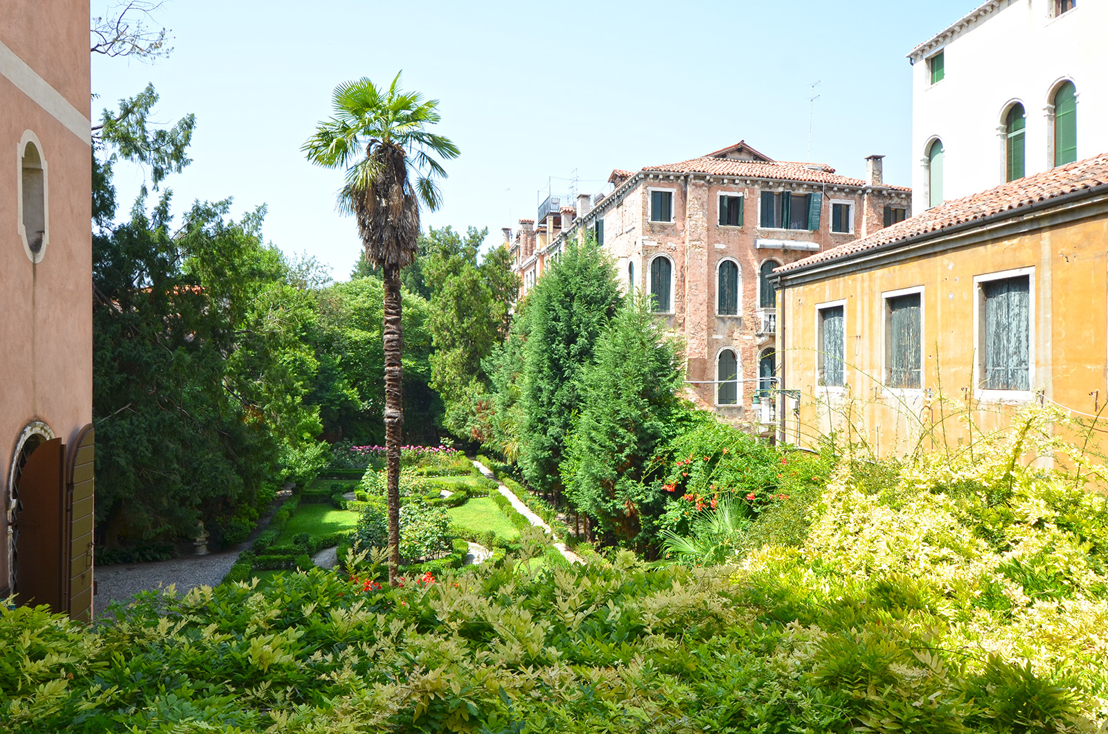 enjoy an amazing view on the garden from the Rezzonico Palace living room