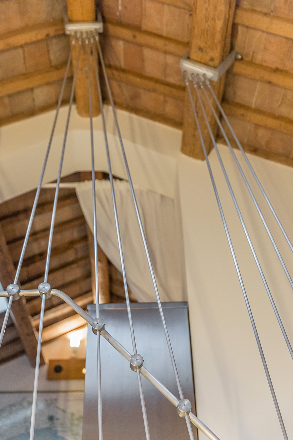 detail of the metal staicase structure in the living room