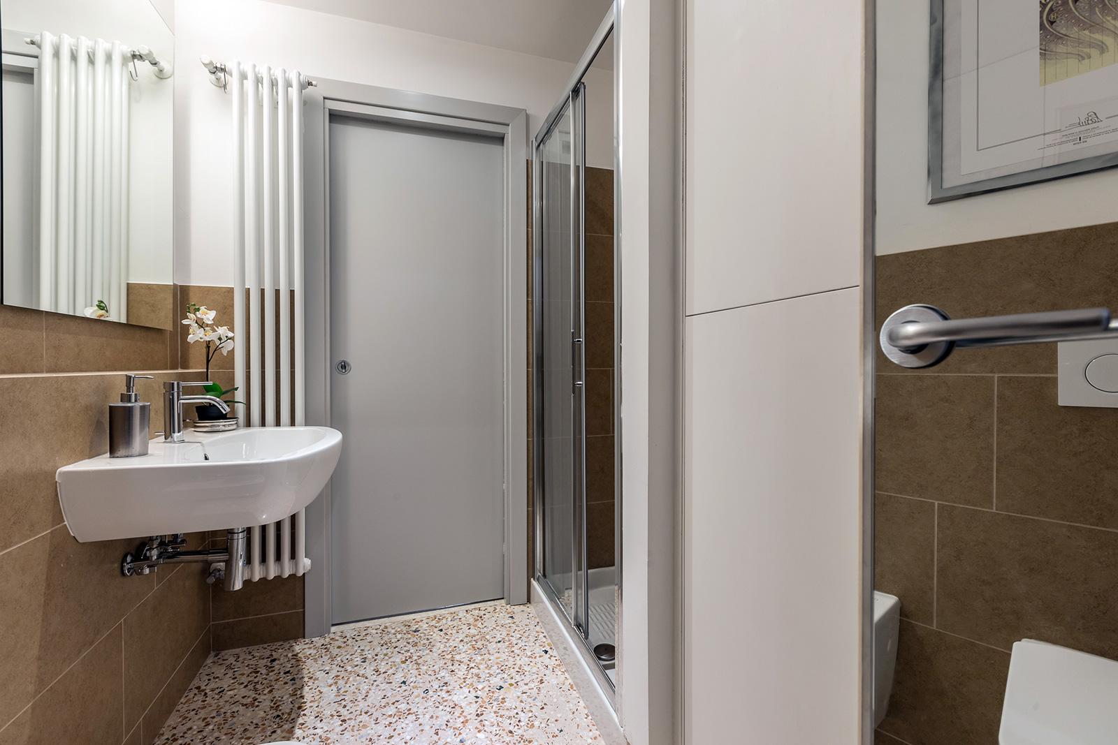smaller second bathroom with shower, connected with the living and dining rooms