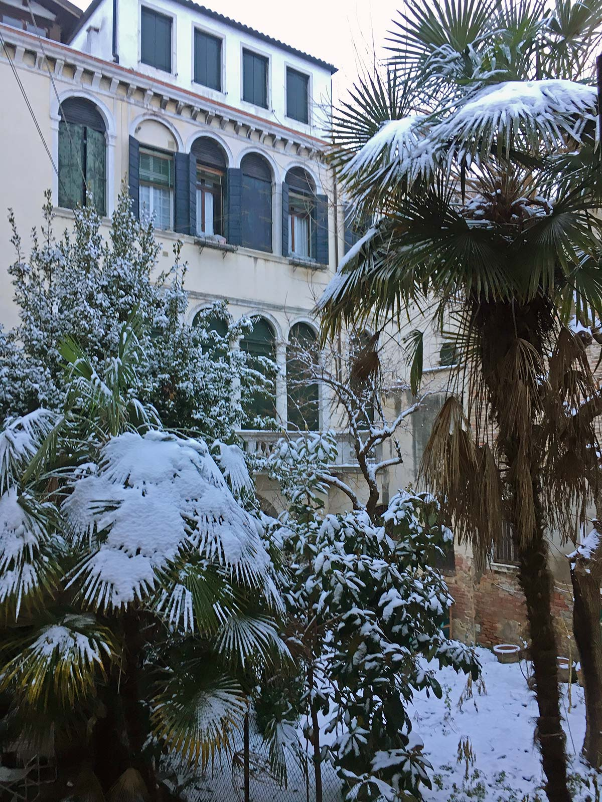 view from the twin bedroom on the courtyard after a rare winter snowfall