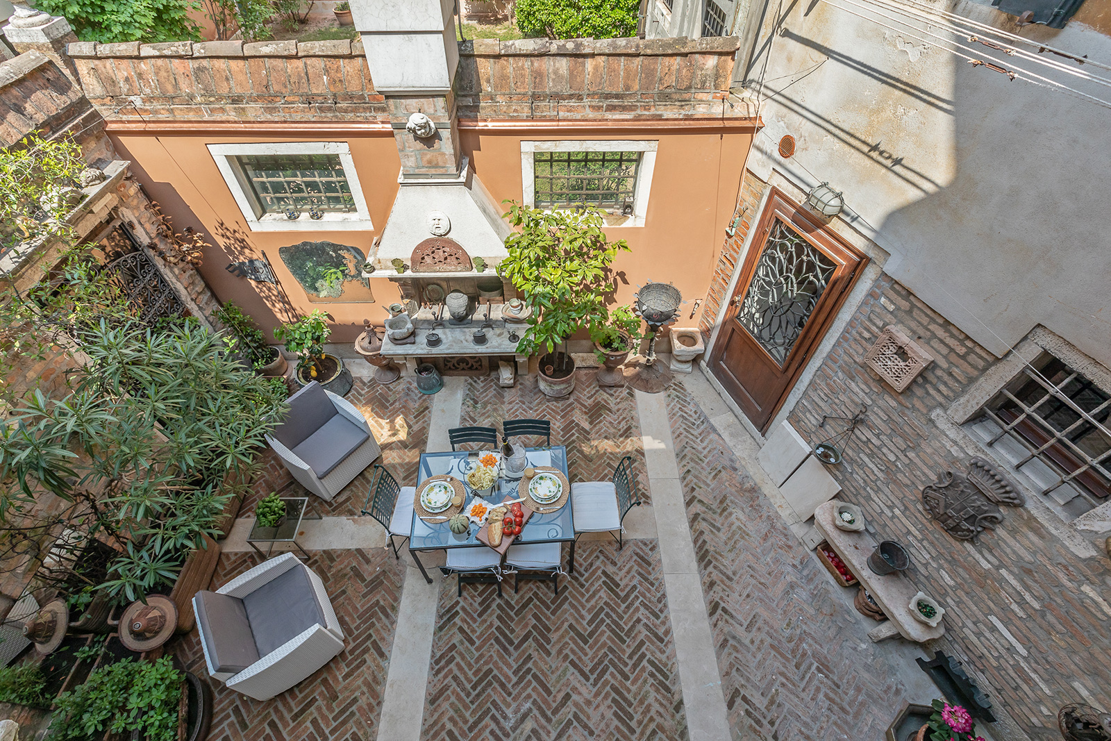 view from the bedroom on the private courtyard